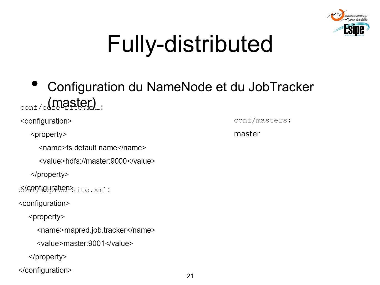 21 Fully-distributed Configuration du NameNode et du JobTracker (master) conf/core-site.xml : fs.default.name hdfs://master:9000 conf/masters: master