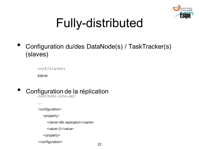 22 Fully-distributed Configuration du/des DataNode(s) / TaskTracker(s) (slaves) conf/slaves: slave Configuration de la réplication conf/hdfs-site.xml
