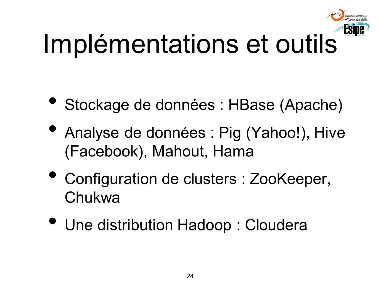 24 Implémentations et outils Stockage de données : HBase (Apache) Analyse de données : Pig (Yahoo!), Hive (Facebook), Mahout, Hama Configuration de cl