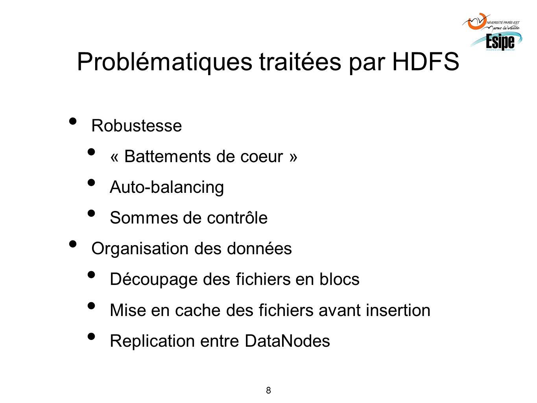 8 Problématiques traitées par HDFS Robustesse « Battements de coeur » Auto-balancing Sommes de contrôle Organisation des données Découpage des fichier