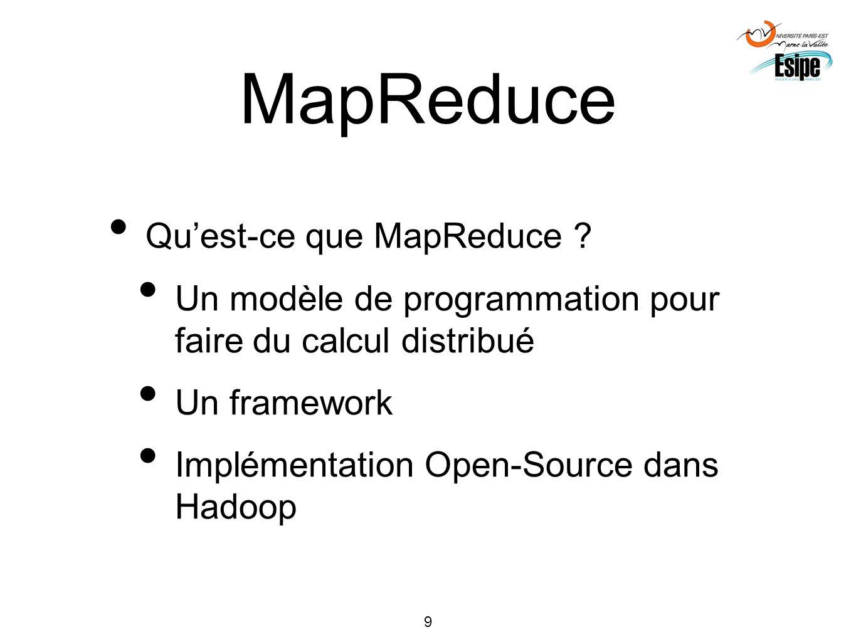 9 MapReduce Quest-ce que MapReduce ? Un modèle de programmation pour faire du calcul distribué Un framework Implémentation Open-Source dans Hadoop