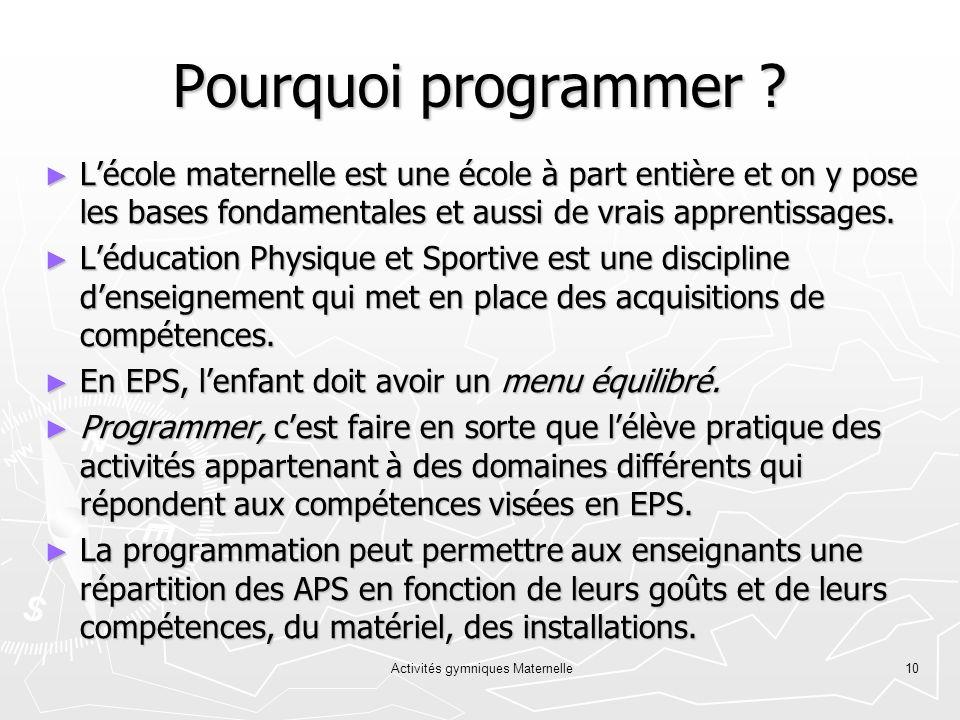 Activités gymniques Maternelle10 Pourquoi programmer ? Lécole maternelle est une école à part entière et on y pose les bases fondamentales et aussi de