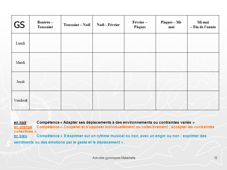 Activités gymniques Maternelle12 GS Rentrée – Toussaint Toussaint – Noël Noël – Février Février – Pâques Pâques – Mi- mai Mi-mai – Fin de lannée Lundi