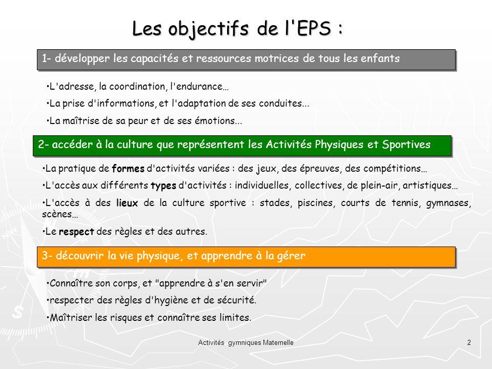 Activités gymniques Maternelle2 Les objectifs de l'EPS : L'adresse, la coordination, l'endurance… La prise d'informations, et l'adaptation de ses cond