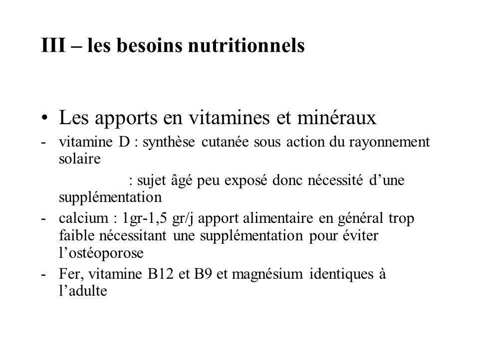 III – les besoins nutritionnels Les apports en vitamines et minéraux -vitamine D : synthèse cutanée sous action du rayonnement solaire : sujet âgé peu
