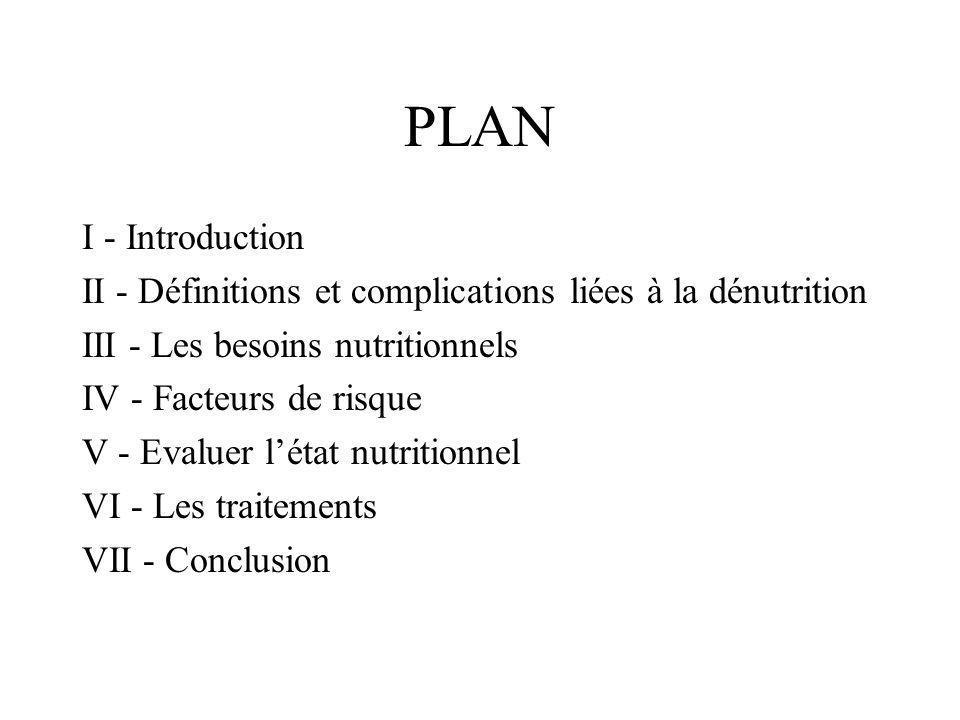 PLAN I - Introduction II - Définitions et complications liées à la dénutrition III - Les besoins nutritionnels IV - Facteurs de risque V - Evaluer lét