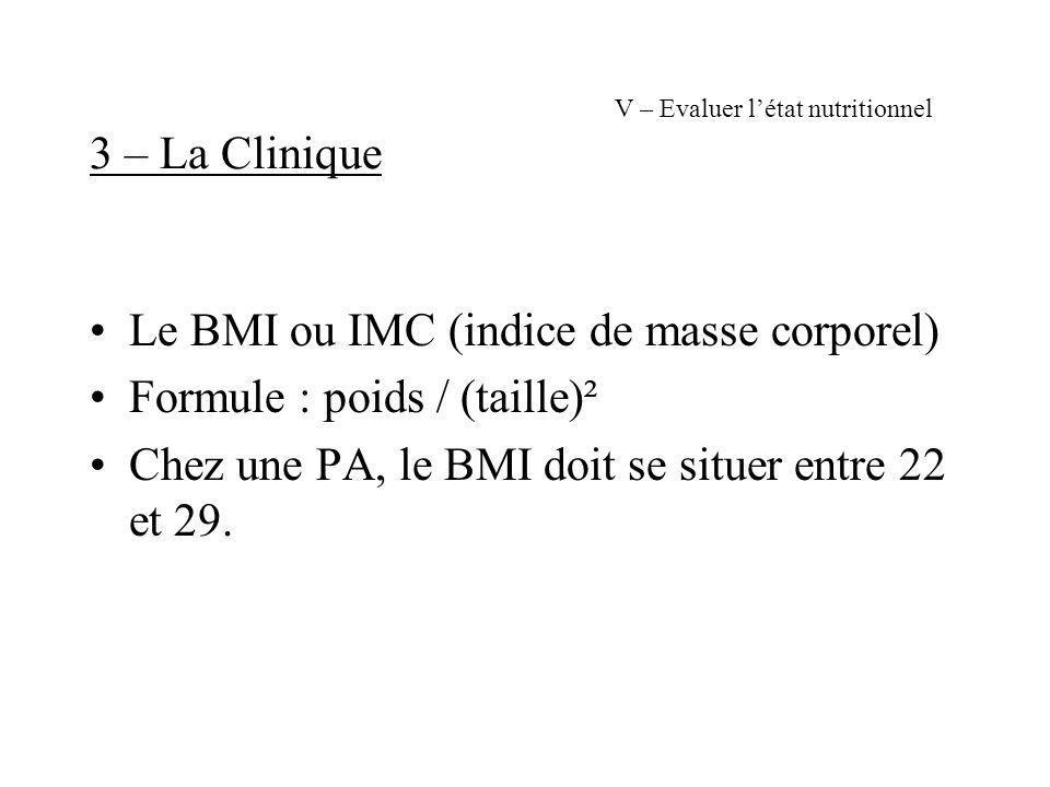V – Evaluer létat nutritionnel 3 – La Clinique Le BMI ou IMC (indice de masse corporel) Formule : poids / (taille)² Chez une PA, le BMI doit se situer