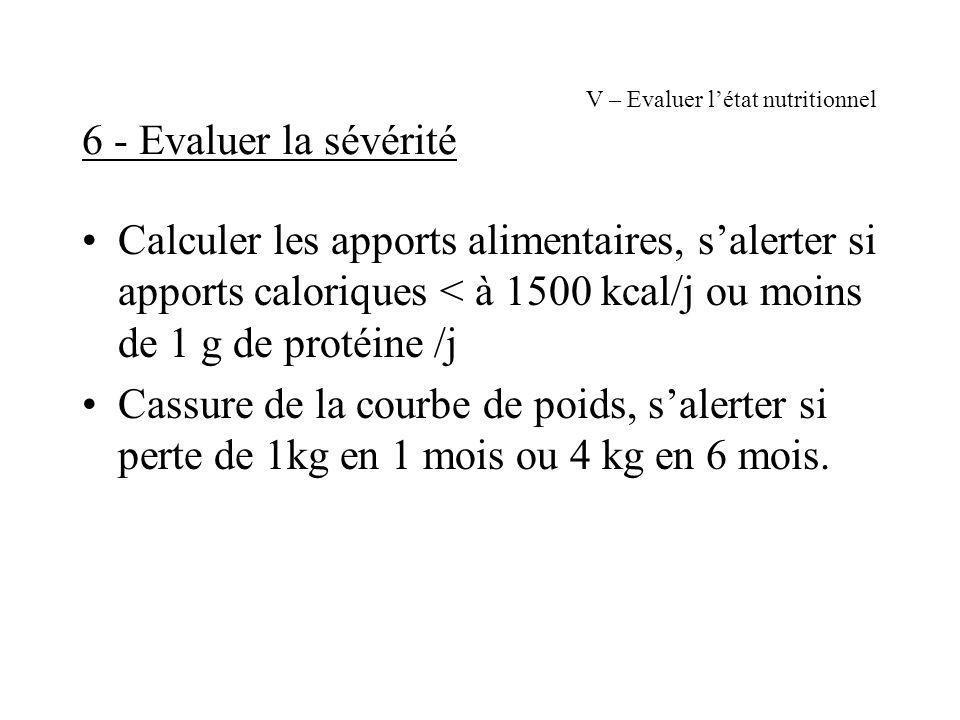 V – Evaluer létat nutritionnel 6 - Evaluer la sévérité Calculer les apports alimentaires, salerter si apports caloriques < à 1500 kcal/j ou moins de 1