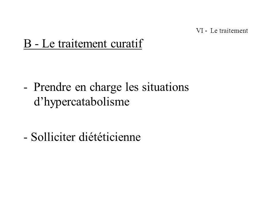 VI - Le traitement B - Le traitement curatif - Prendre en charge les situations dhypercatabolisme - Solliciter diététicienne