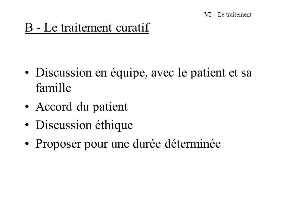VI - Le traitement B - Le traitement curatif Discussion en équipe, avec le patient et sa famille Accord du patient Discussion éthique Proposer pour un