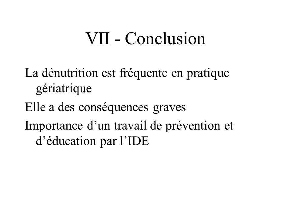 VII - Conclusion La dénutrition est fréquente en pratique gériatrique Elle a des conséquences graves Importance dun travail de prévention et déducatio