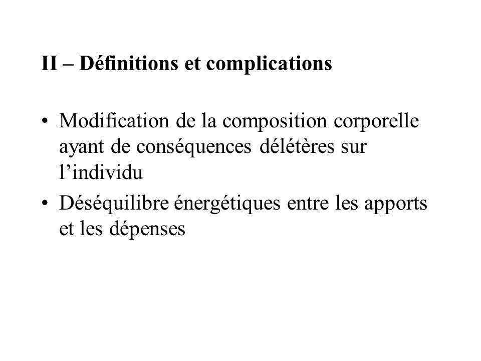 II – Définitions et complications Modification de la composition corporelle ayant de conséquences délétères sur lindividu Déséquilibre énergétiques en