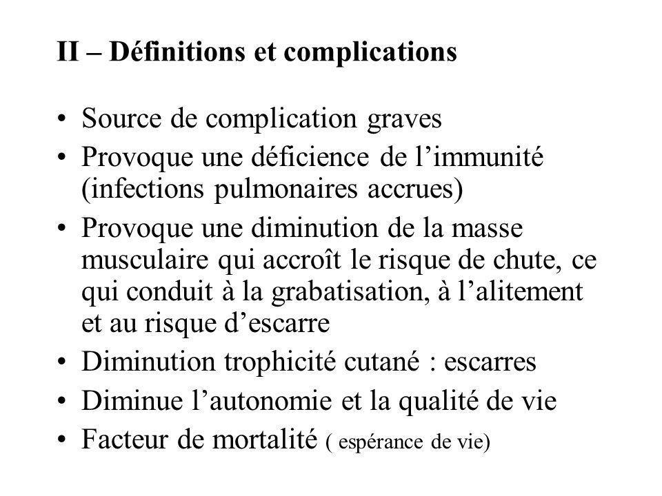 II – Définitions et complications Source de complication graves Provoque une déficience de limmunité (infections pulmonaires accrues) Provoque une dim