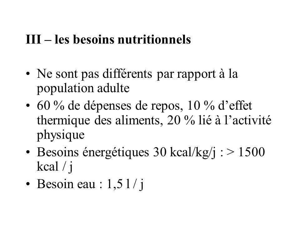 III – les besoins nutritionnels Ne sont pas différents par rapport à la population adulte 60 % de dépenses de repos, 10 % deffet thermique des aliment