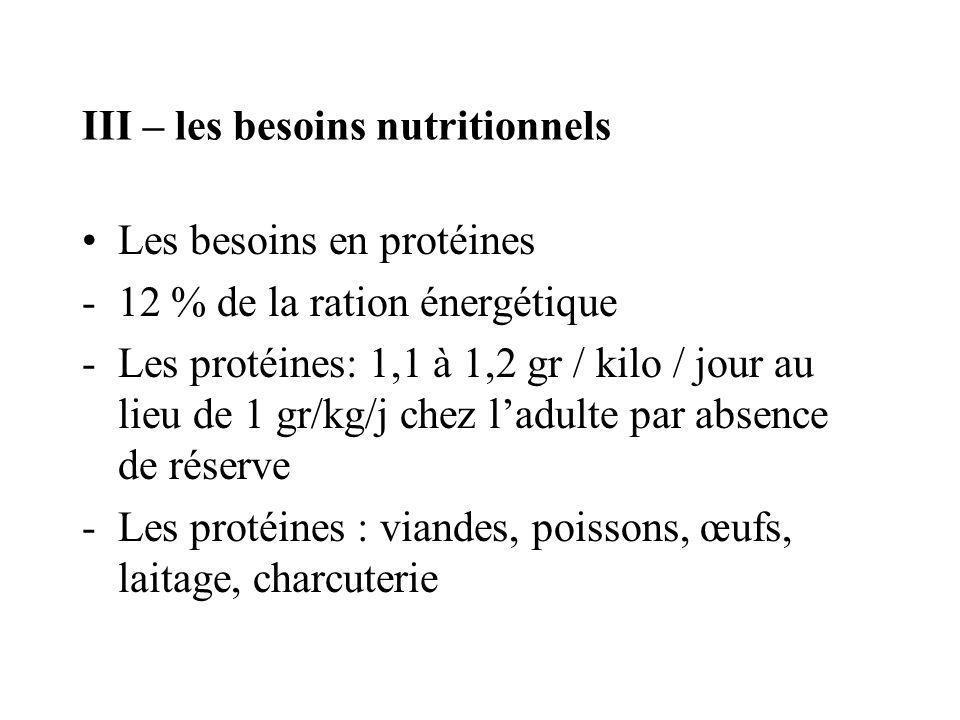 III – les besoins nutritionnels Les besoins en protéines -12 % de la ration énergétique -Les protéines: 1,1 à 1,2 gr / kilo / jour au lieu de 1 gr/kg/