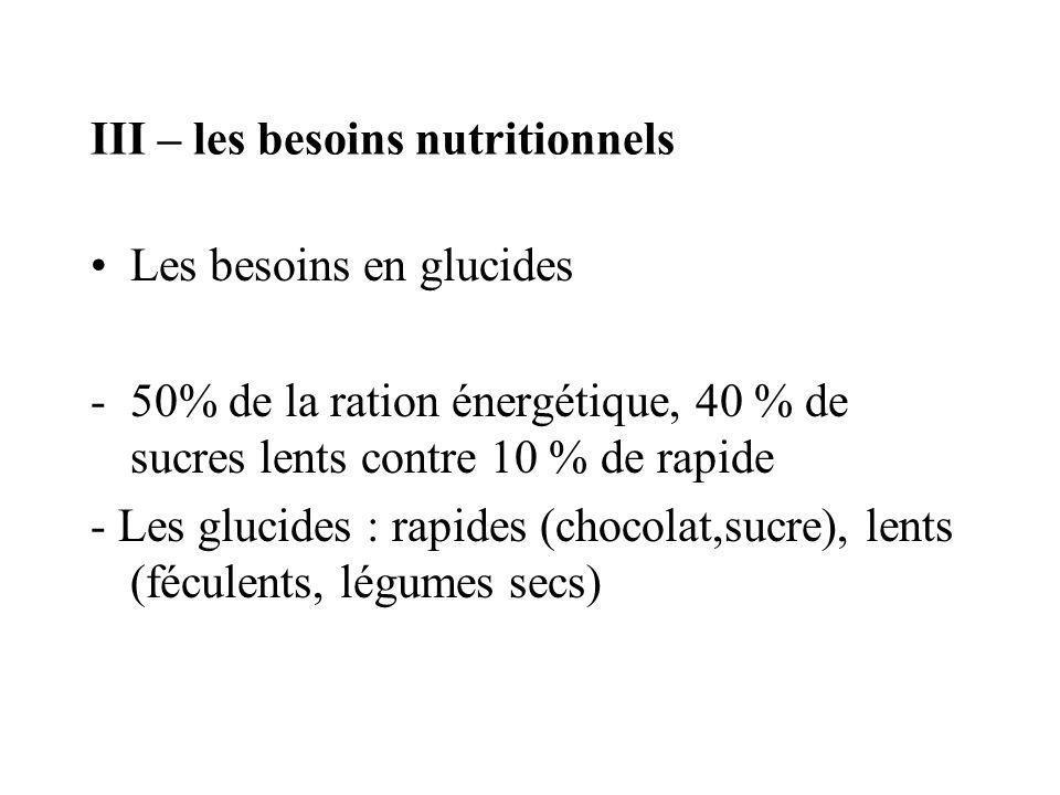 III – les besoins nutritionnels Les besoins en glucides -50% de la ration énergétique, 40 % de sucres lents contre 10 % de rapide - Les glucides : rap
