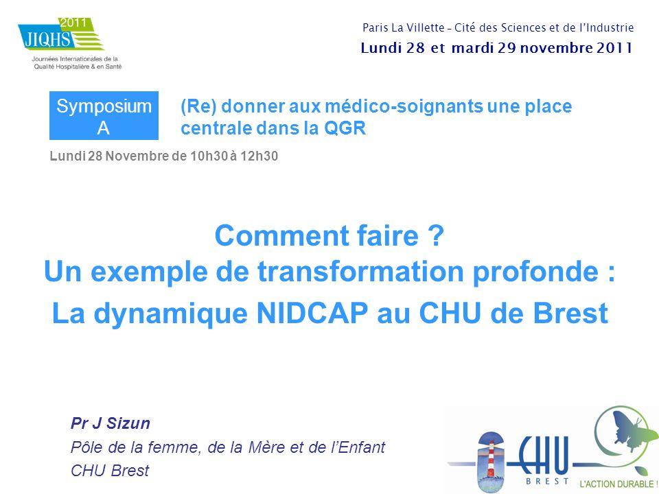 Lundi 28 Novembre de 10h30 à 12h30 Comment faire ? Un exemple de transformation profonde : La dynamique NIDCAP au CHU de Brest Pr J Sizun Pôle de la f