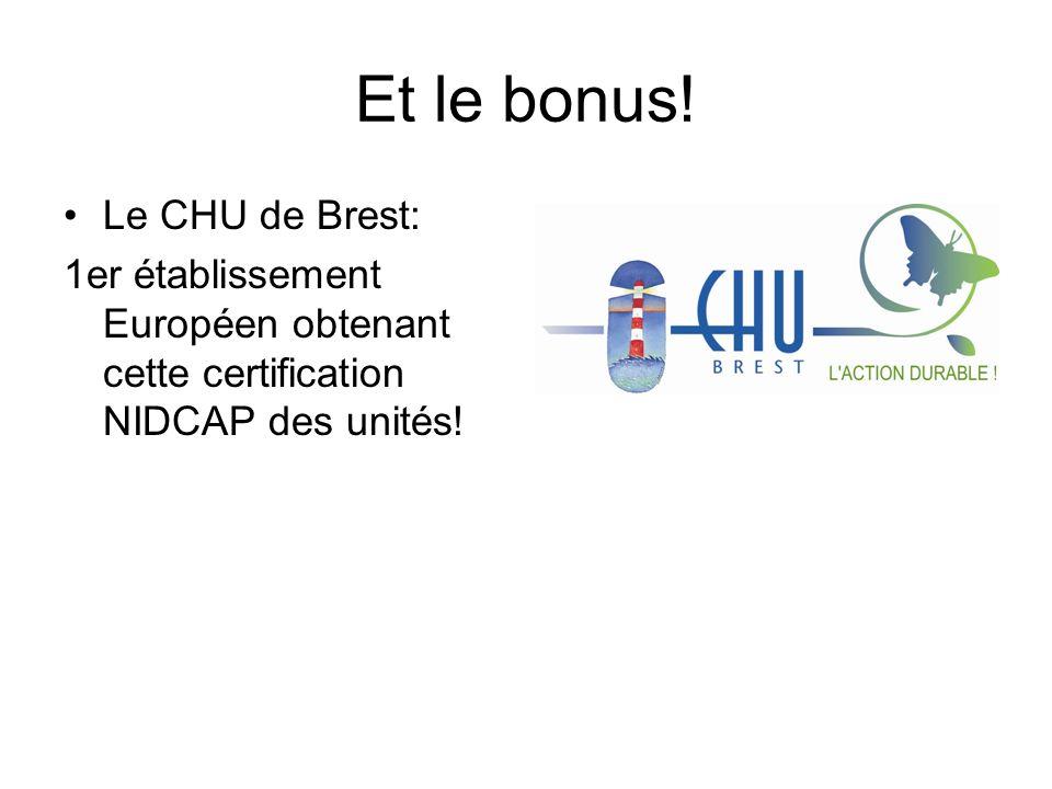 Et le bonus! Le CHU de Brest: 1er établissement Européen obtenant cette certification NIDCAP des unités!