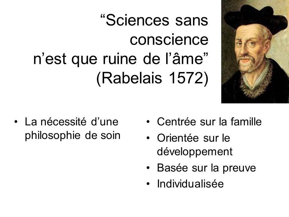 Sciences sans conscience nest que ruine de lâme (Rabelais 1572) La nécessité dune philosophie de soin Centrée sur la famille Orientée sur le développe