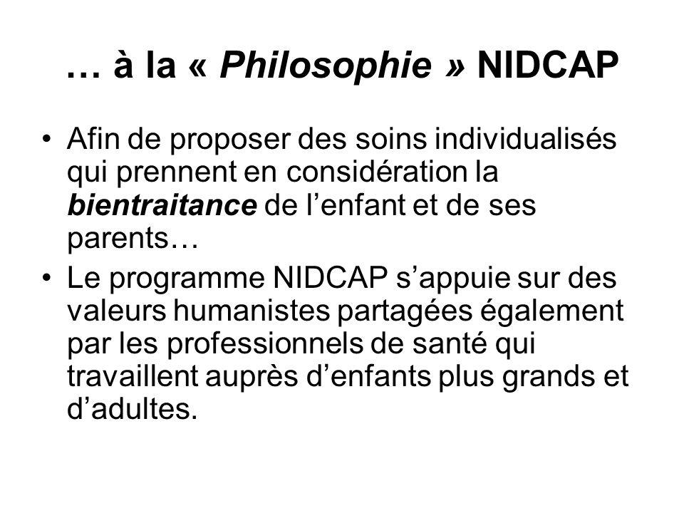 … à la « Philosophie » NIDCAP Afin de proposer des soins individualisés qui prennent en considération la bientraitance de lenfant et de ses parents… L