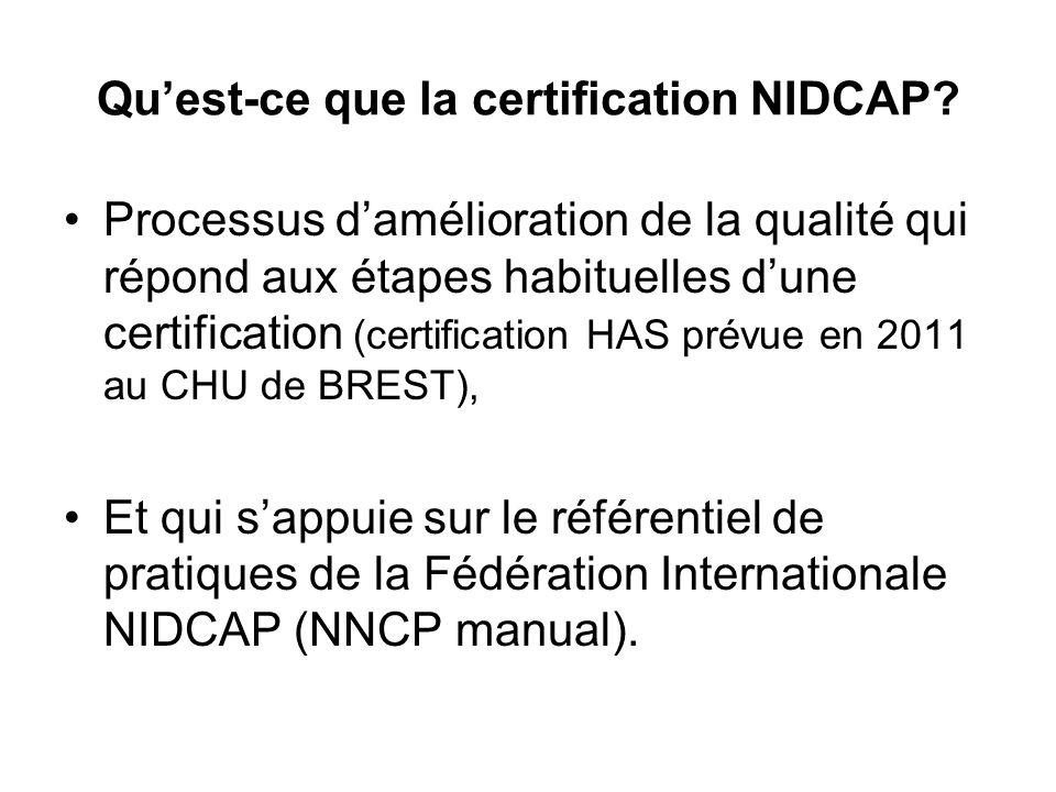 Quest-ce que la certification NIDCAP? Processus damélioration de la qualité qui répond aux étapes habituelles dune certification (certification HAS pr