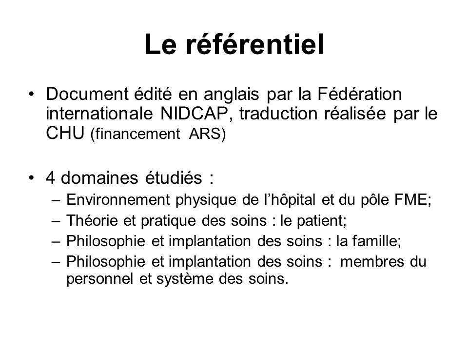 Le référentiel Document édité en anglais par la Fédération internationale NIDCAP, traduction réalisée par le CHU (financement ARS) 4 domaines étudiés