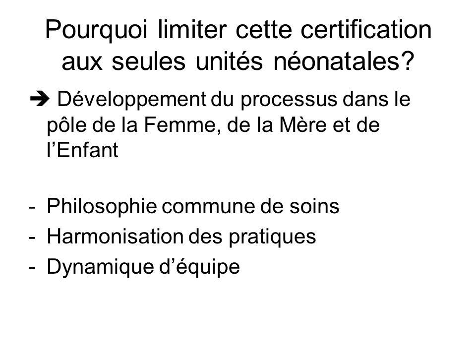Pourquoi limiter cette certification aux seules unités néonatales? Développement du processus dans le pôle de la Femme, de la Mère et de lEnfant -Phil