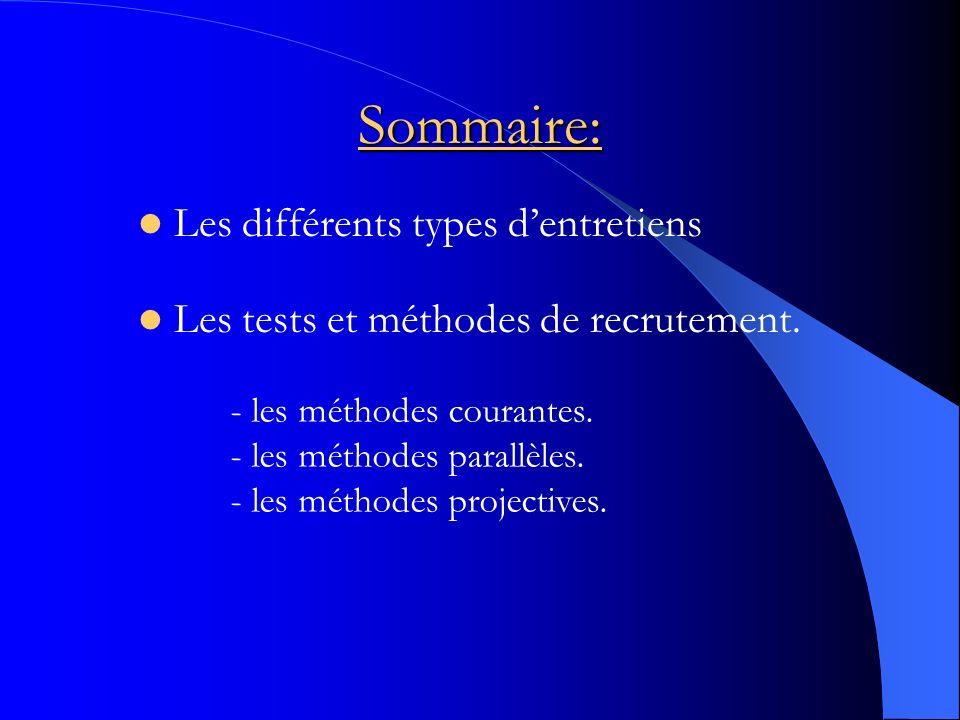 Sommaire: Les différents types dentretiens Les tests et méthodes de recrutement. - les méthodes courantes. - les méthodes parallèles. - les méthodes p