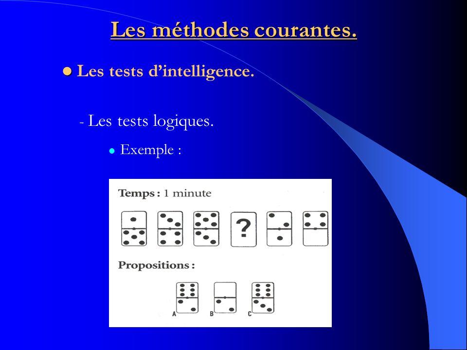 Les méthodes courantes. - Les tests logiques. Exemple : Les tests dintelligence.