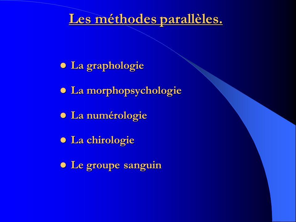 Les méthodes parallèles. La graphologie La graphologie La morphopsychologie La morphopsychologie La numérologie La numérologie La chirologie La chirol