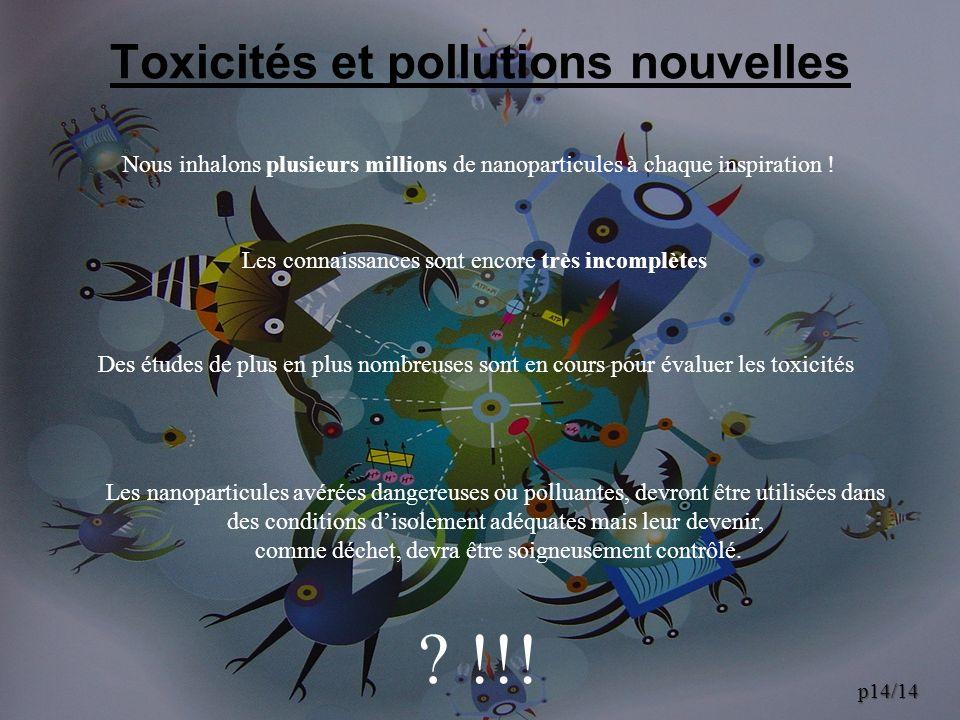 Toxicités et pollutions nouvelles Nous inhalons plusieurs millions de nanoparticules à chaque inspiration ! Les connaissances sont encore très incompl