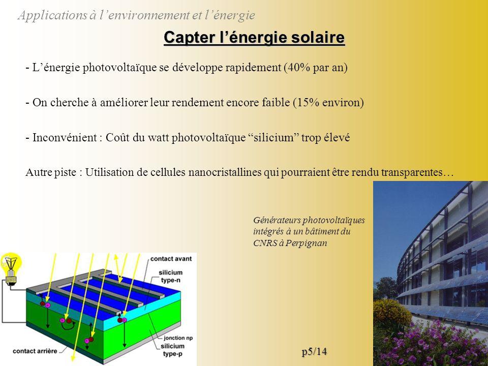 Applications à lenvironnement et lénergie Mieux détecter et filtrer Détection et séparation des substances polluantes à laide de capteurs et de filtres améliorés par nanostructuration 10 à 100 nano-fils de palladium connectés au dispositif de mesure Tamis dont les pores ont des tailles nanométriques p6/14