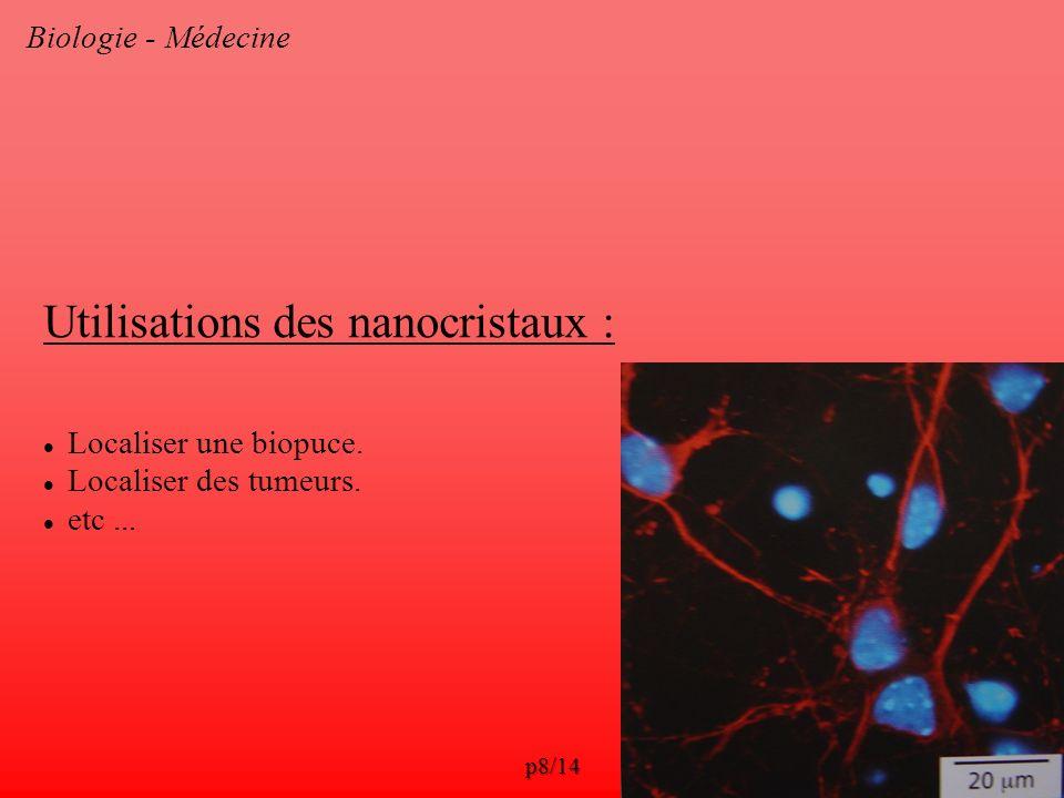 Biologie - Médecine Utilisations des nanocristaux : Localiser une biopuce. Localiser des tumeurs. etc... p8/14