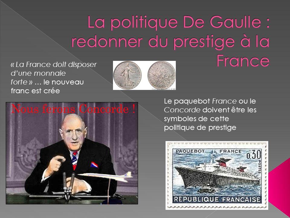 « La France doit disposer dune monnaie forte » … le nouveau franc est crée Le paquebot France ou le Concorde doivent être les symboles de cette politi