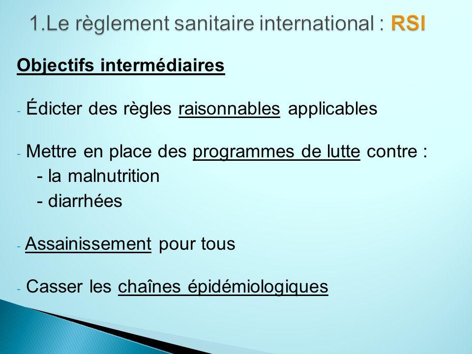 Objectifs intermédiaires - Édicter des règles raisonnables applicables - Mettre en place des programmes de lutte contre : - la malnutrition - diarrhées - Assainissement pour tous - Casser les chaînes épidémiologiques