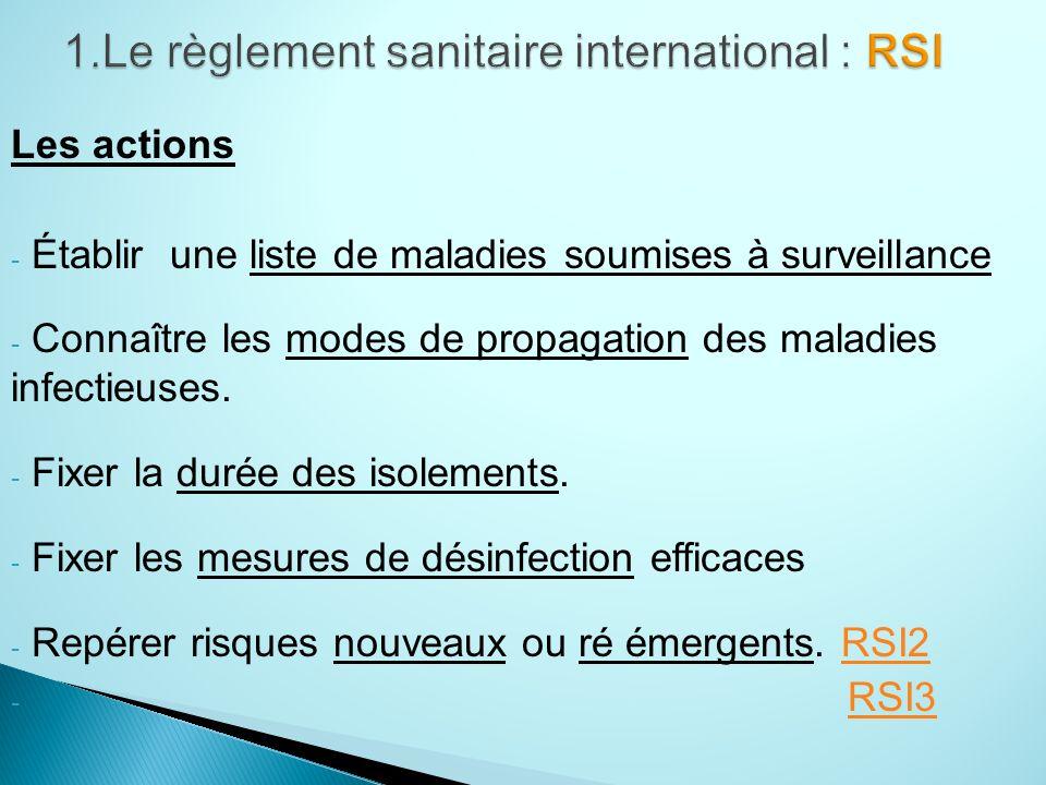 Les actions - Établir une liste de maladies soumises à surveillance - Connaître les modes de propagation des maladies infectieuses.