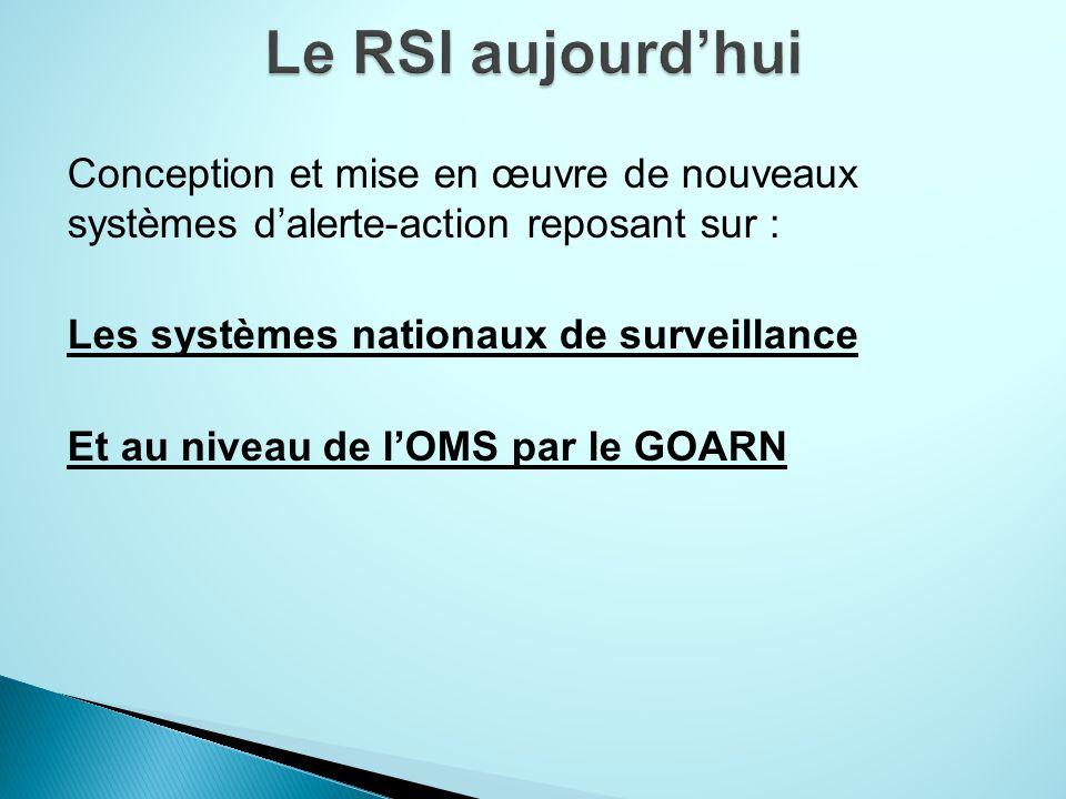 Conception et mise en œuvre de nouveaux systèmes dalerte-action reposant sur : Les systèmes nationaux de surveillance Et au niveau de lOMS par le GOARN