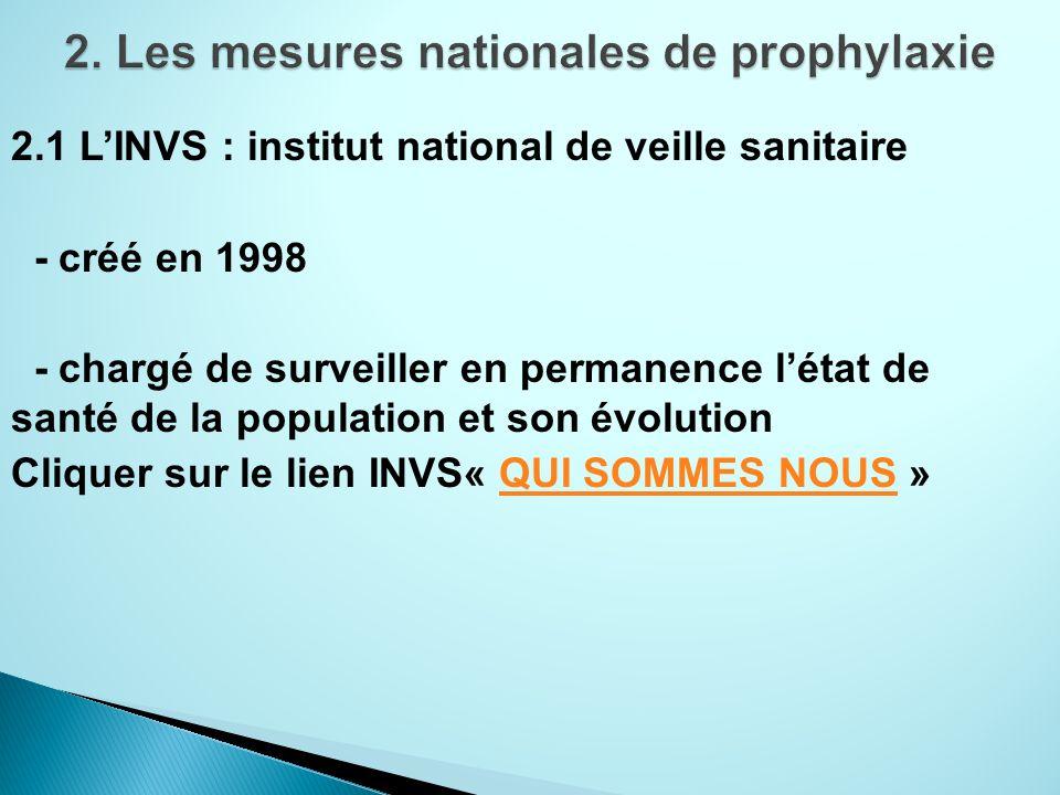 2.1 LINVS : institut national de veille sanitaire - créé en 1998 - chargé de surveiller en permanence létat de santé de la population et son évolution Cliquer sur le lien INVS« QUI SOMMES NOUS »QUI SOMMES NOUS