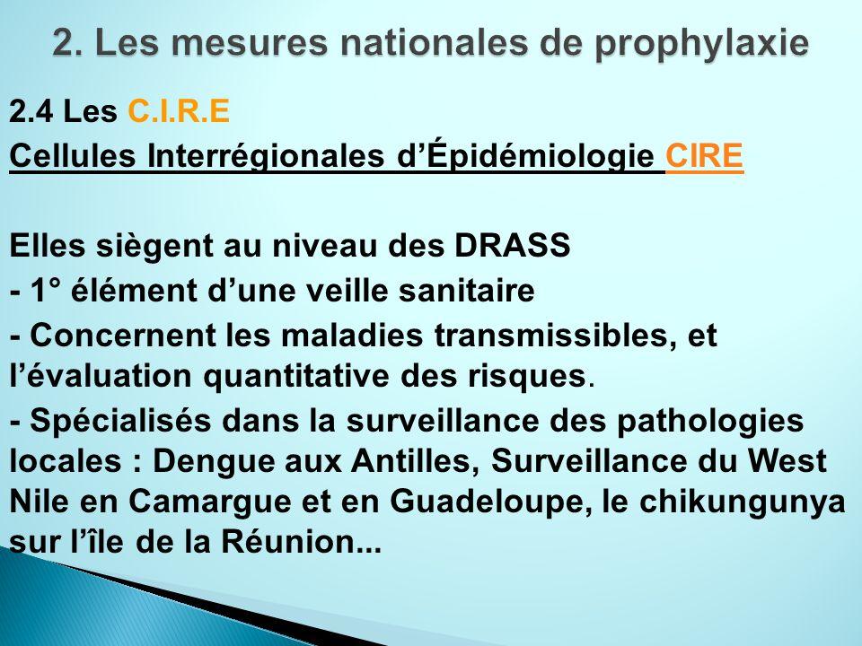 2.4 Les C.I.R.E Cellules Interrégionales dÉpidémiologie CIRECIRE Elles siègent au niveau des DRASS - 1° élément dune veille sanitaire - Concernent les maladies transmissibles, et lévaluation quantitative des risques.