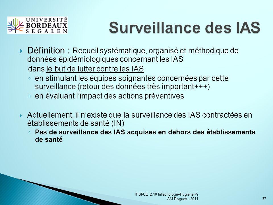 IFSI-UE 2.10 Infectiologie-Hygiène Pr AM Rogues - 201137 Définition : Recueil systématique, organisé et méthodique de données épidémiologiques concernant les IAS dans le but de lutter contre les IAS en stimulant les équipes soignantes concernées par cette surveillance (retour des données très important+++) en évaluant limpact des actions préventives Actuellement, il nexiste que la surveillance des IAS contractées en établissements de santé (IN) Pas de surveillance des IAS acquises en dehors des établissements de santé