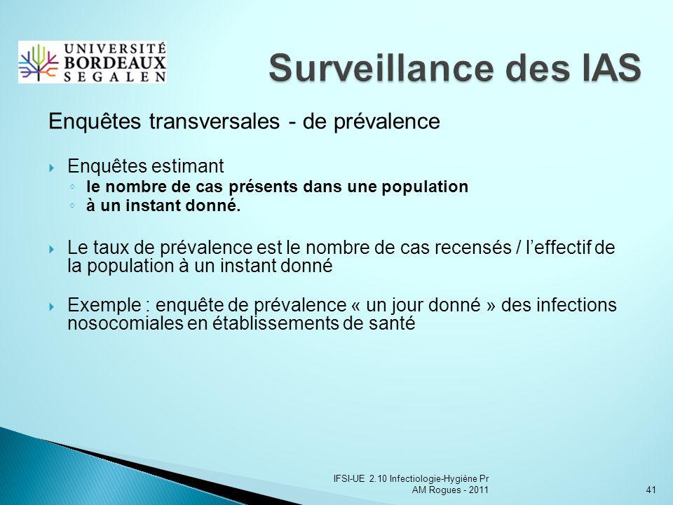 IFSI-UE 2.10 Infectiologie-Hygiène Pr AM Rogues - 201141 Enquêtes transversales - de prévalence Enquêtes estimant le nombre de cas présents dans une population à un instant donné.
