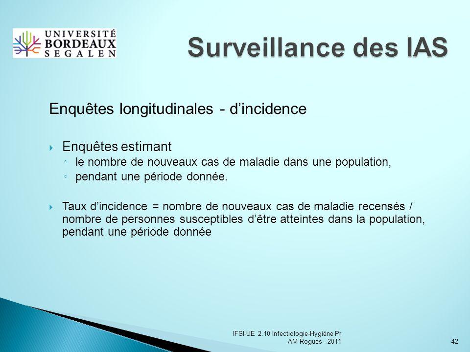 IFSI-UE 2.10 Infectiologie-Hygiène Pr AM Rogues - 201142 Enquêtes longitudinales - dincidence Enquêtes estimant le nombre de nouveaux cas de maladie dans une population, pendant une période donnée.