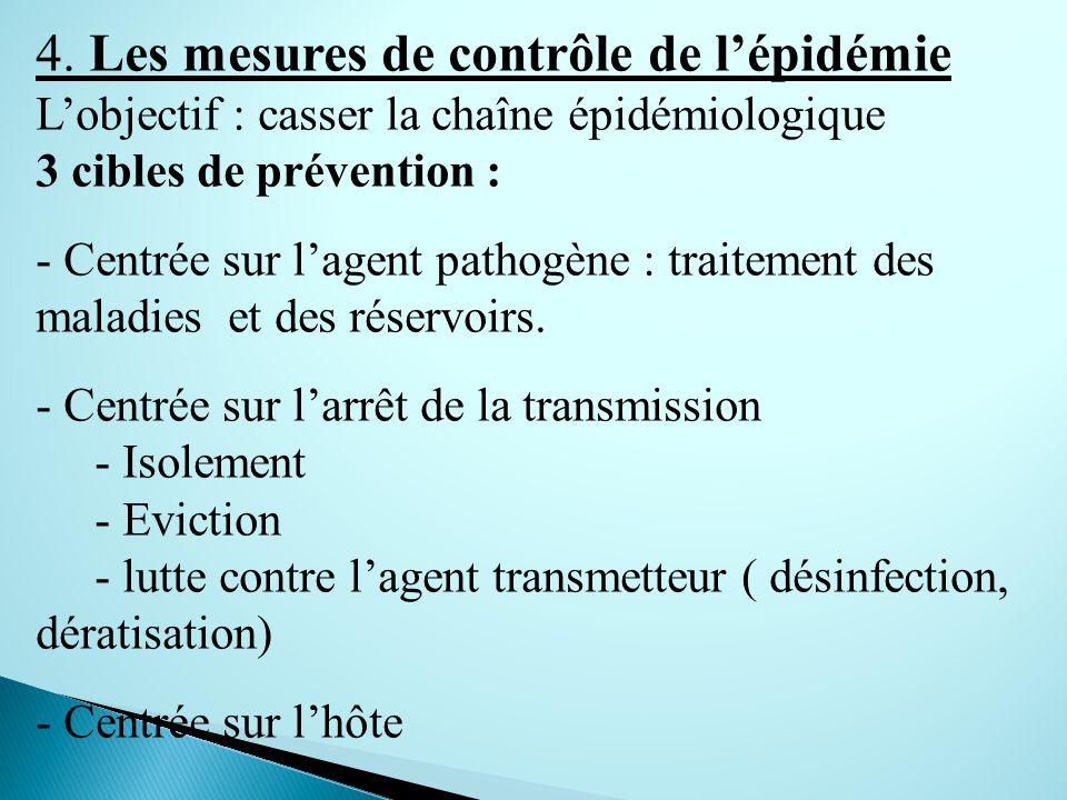 4. Les mesures de contrôle de lépidémie Lobjectif : casser la chaîne épidémiologique 3 cibles de prévention : - Centrée sur lagent pathogène : traitem