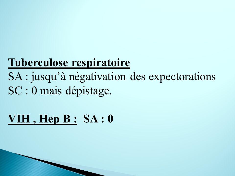 Tuberculose respiratoire SA : jusquà négativation des expectorations SC : 0 mais dépistage.