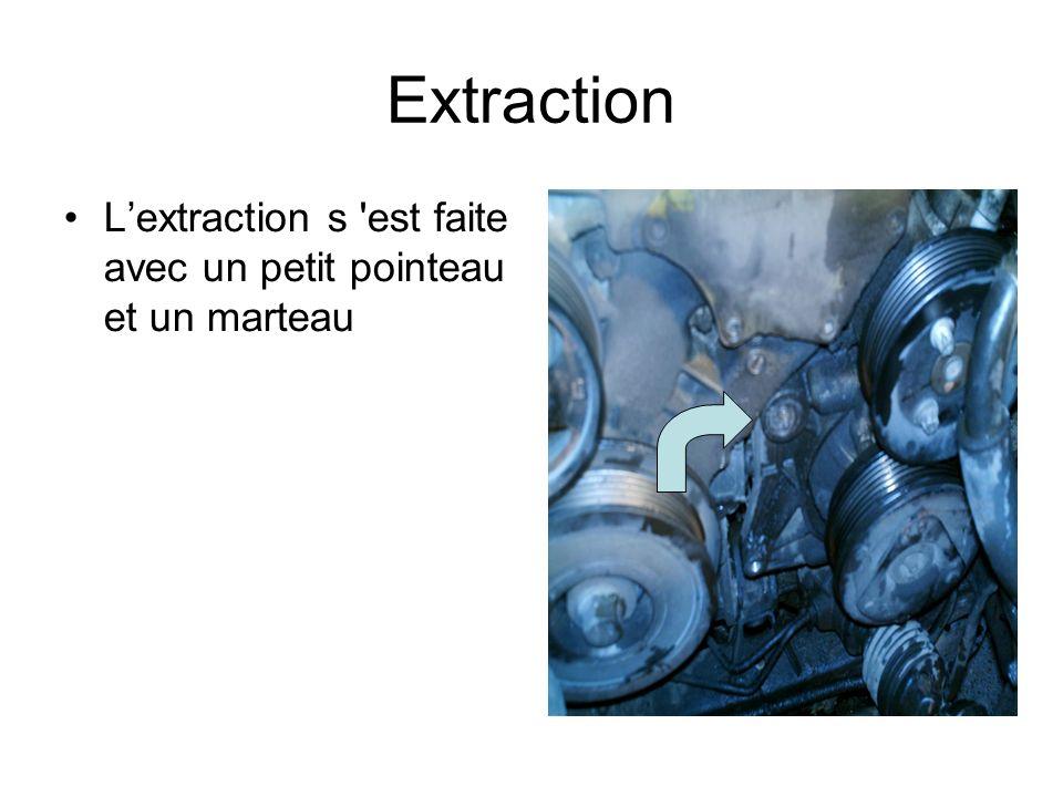 Extraction Lextraction s est faite avec un petit pointeau et un marteau