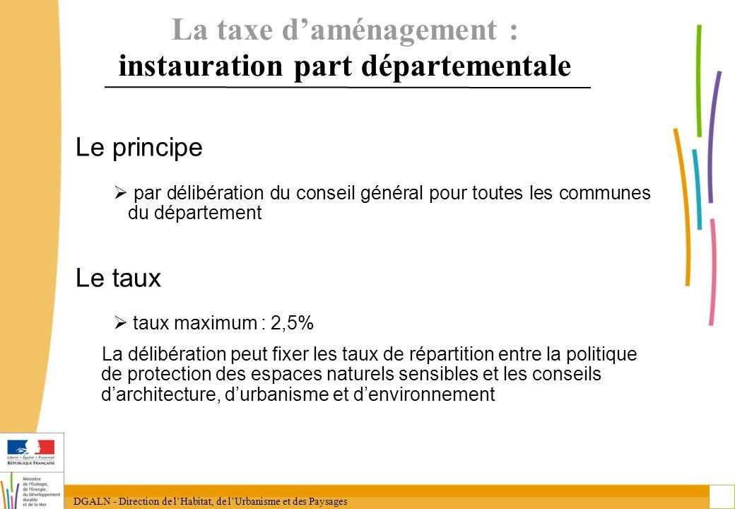 DGALN - Direction de lHabitat, de lUrbanisme et des Paysages 13 La taxe daménagement : instauration part départementale Le principe par délibération d
