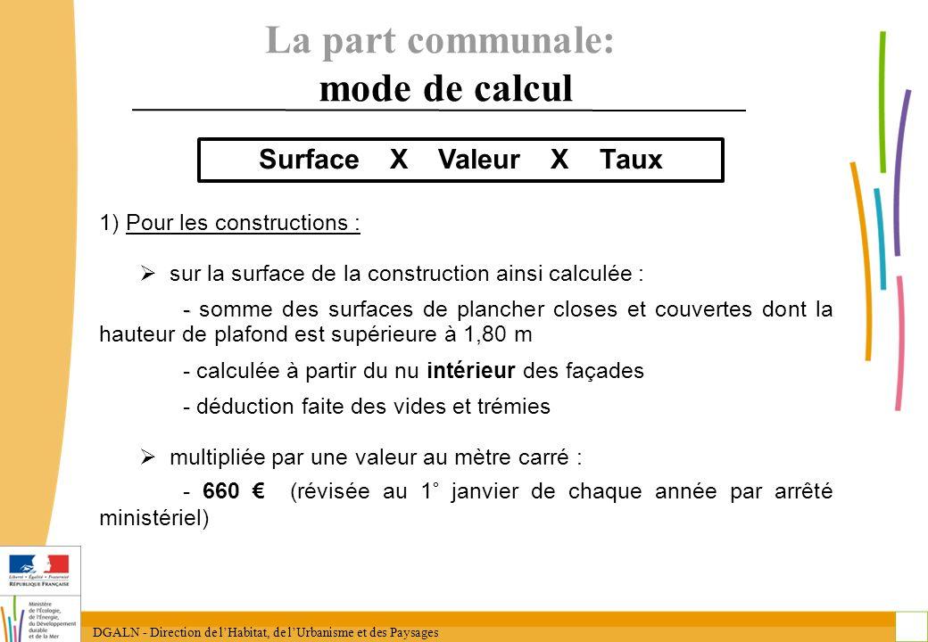 DGALN - Direction de lHabitat, de lUrbanisme et des Paysages 16 La part communale: mode de calcul 1) Pour les constructions : sur la surface de la con