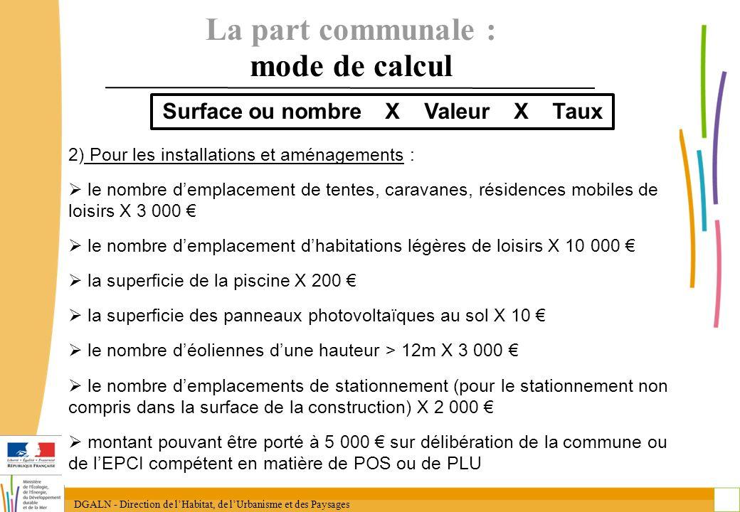 DGALN - Direction de lHabitat, de lUrbanisme et des Paysages 17 La part communale : mode de calcul 2) Pour les installations et aménagements : le nomb