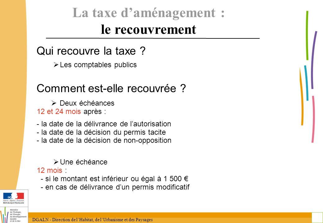 DGALN - Direction de lHabitat, de lUrbanisme et des Paysages 25 La taxe daménagement : le recouvrement Qui recouvre la taxe ? Les comptables publics C