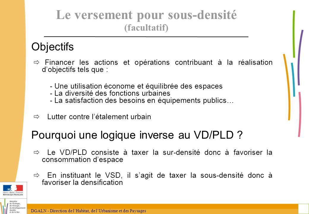 DGALN - Direction de lHabitat, de lUrbanisme et des Paysages 28 Le versement pour sous-densité (facultatif) Objectifs Financer les actions et opératio